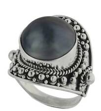 Sterling Silver Cultured Gray Mabe Pearl from Bali, Indonesia Ring Size 8 $119