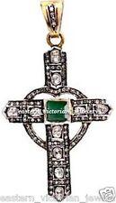Emerald Studded Cross Pendant Jewelry Victorian 3.28Cts Rose Antique Cut Diamond