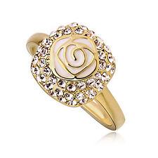 ELEGANT GOLD PD & Pittura ad Olio White Rose Fiore Strass Anello TAGLIA O / 7 FR19