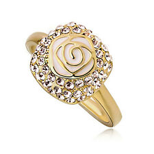 Gold Oil Painted White Rose Flower Front Rhinestones medium Ring size O / 7 FR19