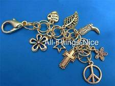Bag Charm Maille Chain Key Ring Clasp WORLD PEACE Sign Dangle Fashion Jewellery
