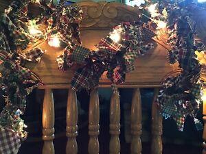 Rag Garland, Christmas Colors On White Lights.  7 Foot Total Length,
