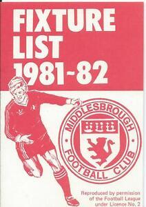 MIDDLESBROUGH FIXTURE CARD LIST 1981/82