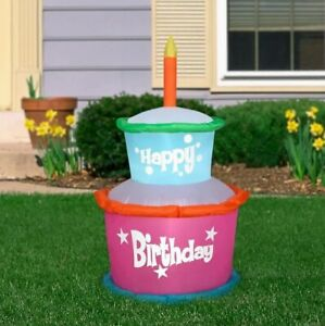 3.5ft Gemmy Airblown Inflatable Colorful Happy Birthday Cake w/ Candle 34457