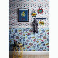 SUPERHERO WALLPAPER BLUE - ARTHOUSE 696200 BOYS BEDROOM