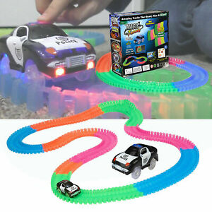 Flexible Magic Glow Track Set Toy with 1 LED Fast Speed Race Car Adjustable Kids