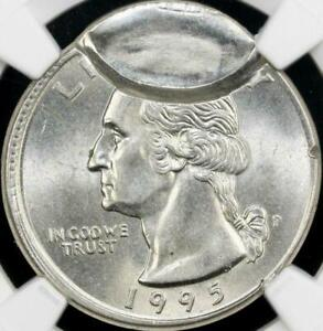 1995 P 25C MINT ERROR -OBVERSE BROCKAGE PARTIAL COLLAR -NGC MS63