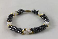 Gorgeous Black-White Hematite Bracelet Bangle Jewellery FREE WORLD WIDE POSTAGE