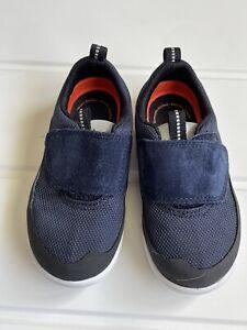 Clark's Shoe Uk Infant 51/2 G Blue Suede & Fabric Hook & Loop Fastening  Ex Cond