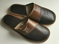 Leather Men Handmade House Slippers Mule Flip Flop Sandals US 8 8.5 9 10 12 12.5