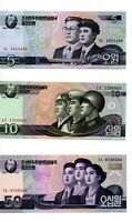 lot de 3 billets Asie  Corée (pas du sud) 5-10-50 won état neuf