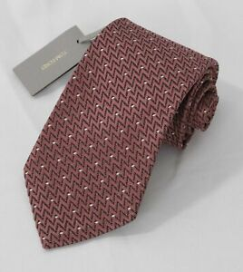 NEW TOM FORD Neck Tie SILK Brown & Black Zig Zag with Ivory Dots TFN109