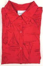 Alfred Dunner Women's Red 3/4 Sleeve Button Down Sheer Shirt Blouse Sz 10 NWOT