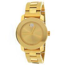 Movado Women's 3600104 Bold Gold Ion-Plated Bracelet Watch Swarovski Crystal
