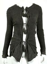 JEAN PAUL GAULTIER Dark Taupe Wool Tie Front Ribbed Knit Cardigan Sweater M