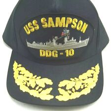 US NAVY CAP ORIGINAL USS SAMPSON Made in USA Double Eggs One Size Fits All