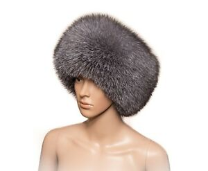 Saga Furs Blue Frost Silver Fox Fur Handmade Always Trendy Classic Winter Hat