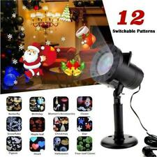 Landscape 12 Patterns Laser Xmas Lamp LED Light Moving Snowflake Projector