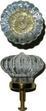 Scalloped Clear Molded Glass KNOB on Brass Base - vintage antique pull rare furn