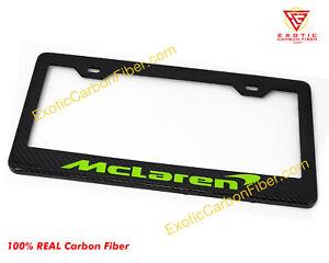 McLaren Napier Green Text Carbon Fiber License Plate Frame 2x2 Gloss
