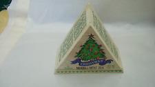 VINTAGE TRIANGLE WOOD TEA BOX FROM FORTUNES INTERNATIONAL TEAS W/ TEA BAGS 1999