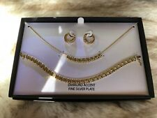 Macy's Diamond Accent 18k Gold Sterling Silver Plated Necklace Set C501