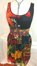 Desigual Women's Dress by Christian Lacroix Florecilla Large Black Red Orange