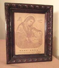 antique religious Santa Anna Saint lithograph engraving print carved wood frame