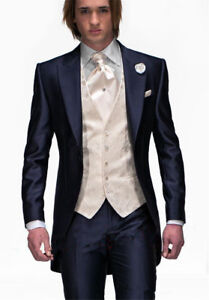 Mens Navy Blue Tailcoat 3 Piece Tuxedo Groom Formal Wedding Prom Suits Tailored