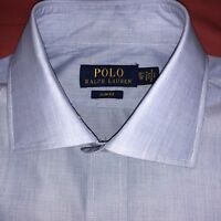 "Ralph Lauren Mens Shirt Dress Long Sleeve Slim Fit Blue White 15.5"""