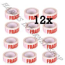12 ROLLS OF FRAGILE PRINTED LOW NOISE 48mm x 66M PACKING TAPE STRONG ADHESIVE