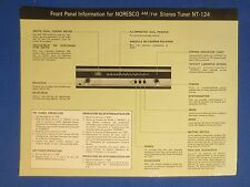 NORESCO NT-124 TUNER IN STORE DISPLAY INFORMATION CARD PLASTICIZED TWO SIDED