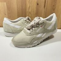 Reebok Classic CL Nylon Naturals - Size UK 5 Eur 38 Cream Womens Girls Ladies