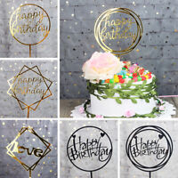 Acrylic Happy Birthday Cake Topper Decoration Pick 17 Styles Gold | Black | Pink