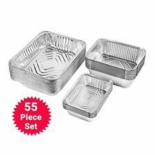 Aluminum Foil Pans With Lids - Disposable Baking Meal Prep 3-Size Pans 55 Pack