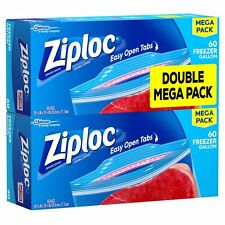Ziploc Pint Freezer bag Pack 120 Gallon Bags To Protect Food Ice burn. Ziplock