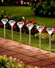 Set Of 6 Solar Stakes Lights Diamond Shaped Accent Lighting Outdoor Pathway Yard