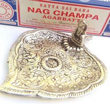 Metal Elephant silver incense stick holder FREE Nag Champa cone ash catcher gift