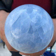 1522G Natural Magic Blue Calcite Sphere Quartz Crystal Ball Healing LJB902