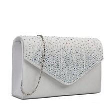 Miss Lulu Ladies Diamante Clutch Evening Bridal Wedding Bag Handbag (Beige)