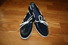NEW Womens COLE HAAN Nantucket Camp Moccasin Shiny Navy Dress Loafer Shoes 8.5