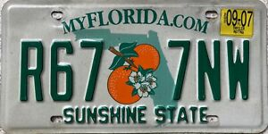 Florida Sunshine State American License Licence USA Number Plate R67 7NW