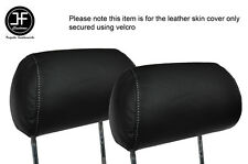 WHITE STITCHING 2X FRONT HEADREST LEATHER SKIN COVER FITS FORD FIESTA MK3 XR2I