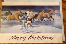 10 Christmas Note Cards Envelope Snow Cowboy Cowgirl Wild Mustangs Ranglers
