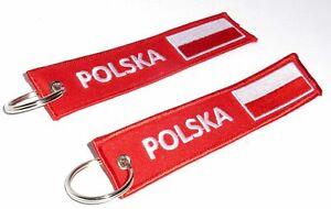 Embroidered Fabric 'POLSKA' Polish Flag Double Sided Keyring / Keychain