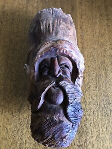 1970's Signed P. Wells Tree Spirit Wood Carving