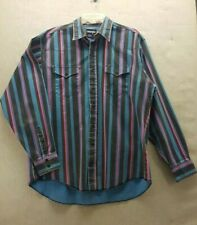 Wrangler Mens 17 36 Xl Striped Button Up Long Sleeve Southwest Cowboy Shirt Vtg
