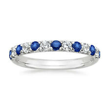 0.50 Ct Natural Blue Sapphire Diamond Wedding Bands White Gold Finish Size 6 7 8