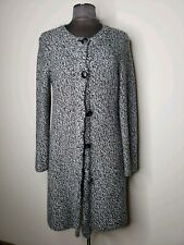 Talbots Black And White Wool Cashmere Blend Long Sweater Cardigan Size Petite M