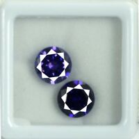 AGSL Certified Purple Sapphire Loose Gemstone Pair 8 Ct Natural Round Cut 2 Pcs